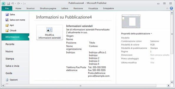 Informazioni aziendali nella visualizzazione Backstage di Publisher 2010
