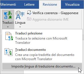 Mostra Imposta lingua traduzione documento nel menu theTranslate