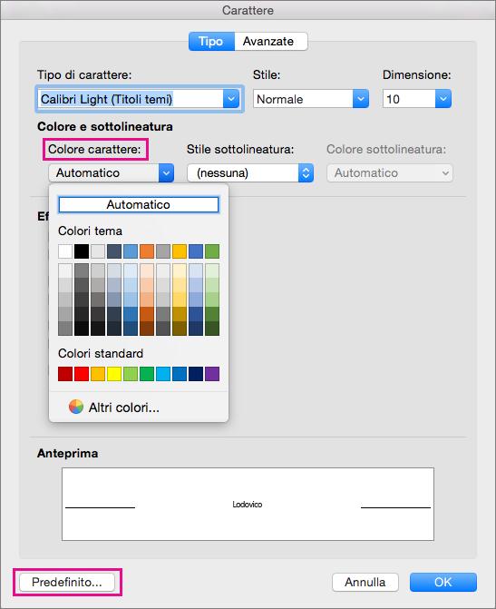 Opzioni Colore carattere e Predefinito evidenziate nella finestra Carattere.