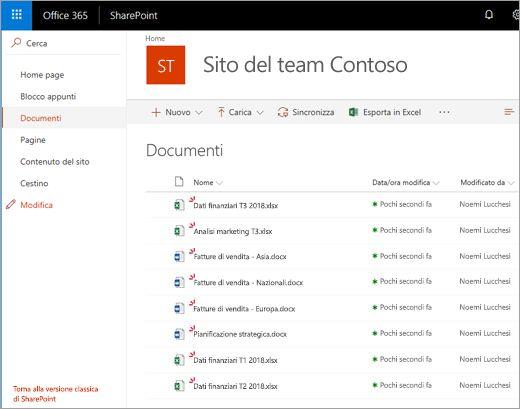 Raccolta documenti di SharePoint Office 365 - file caricati