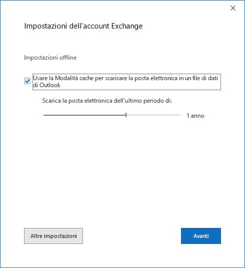 Finestra di dialogo Configurazione account, pagina Impostazioni account di Exchange.