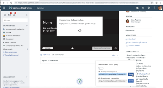 Pagina visualizzata durante la configurazione dell'evento Live Yammer per il codificatore esterno