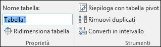 Immagine della casella Nome nella barra della formula di Excel per rinominare una tabella