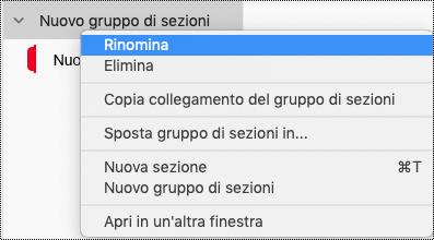Rinomina gruppo di sezioni in OneNote per Mac