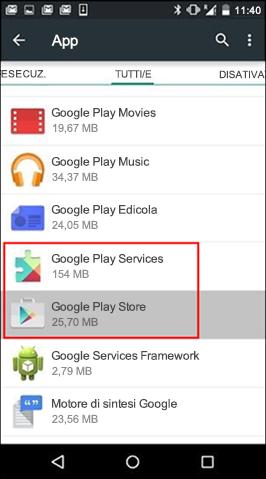 Cancellare la cache dell'app Google Play Store