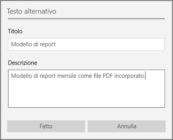 Aggiungere testo alternativo a file incorporati nell'app OneNote per Windows 10