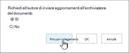 Fare clic su Rimuovi collegamento