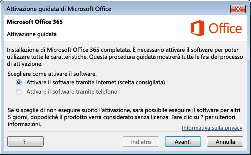 Attivazione guidata per Office 365