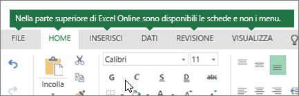 Schede Home, Inserisci, Dati e Visualizza in Excel sul Web
