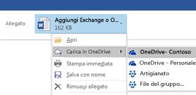 Caricare allegati di Outlook in OneDrive