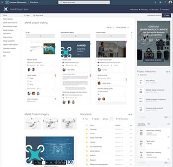 Immagine di un sito del team con un timer per il conteggio, un articolo di notizie e un planner