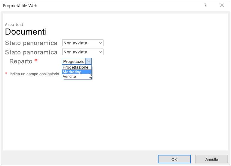 Finestra di dialogo Proprietà file Web con il campo Reparto che visualizza un elenco di tre opzioni.