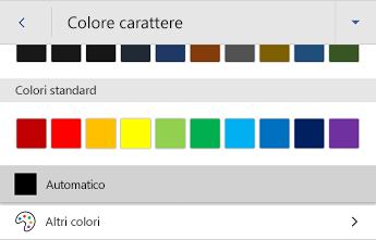 Menu Colore carattere di Word per Android