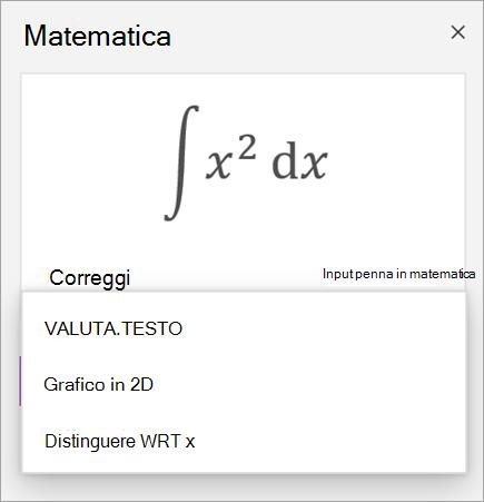 Equazione di esempio che mostra le opzioni di soluzione per derivati e integrali