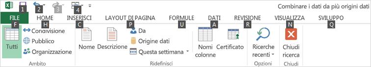 Suggerimenti tasti di scelta della barra multifunzione di Power Query