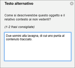 Riquadro di testo alternativo per l'aggiunta di testo alternativo a un'immagine in Outlook
