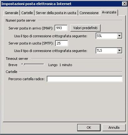 Screenshot della scheda Avanzate nella finestra di dialogo Impostazioni posta elettronica Internet.