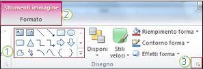 Esempio di altre caratteristiche della barra multifunzione di PowerPoint 2010