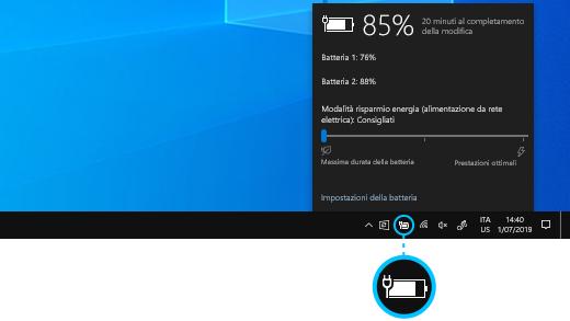 Stato di carica della batteria di Surface Book sulla barra delle applicazioni del desktop.