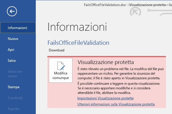 Visualizzazione Backstage dell'errore di convalida dei file di Office in Visualizzazione protetta