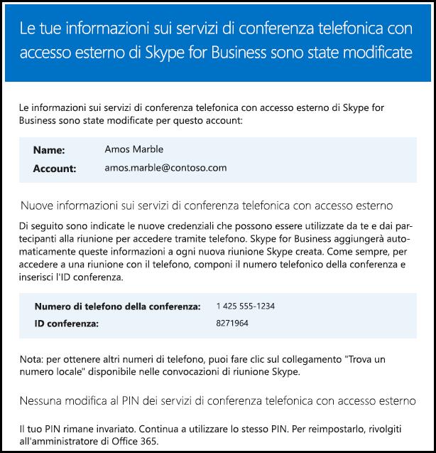 Le informazioni sulla conferenza telefonica con accesso esterno sono state modificate.