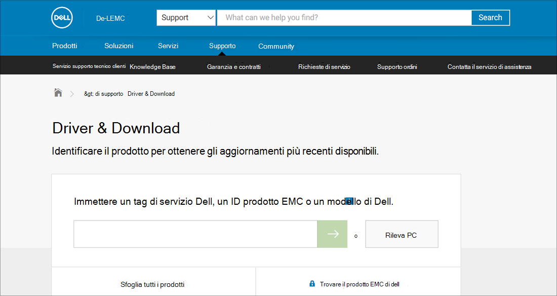Esempio di driver e download Dell OEM