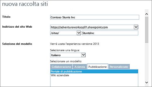 Finestra di dialogo Nuova raccolta siti (metà superiore) con l'opzione Portale di pubblicazione evidenziata
