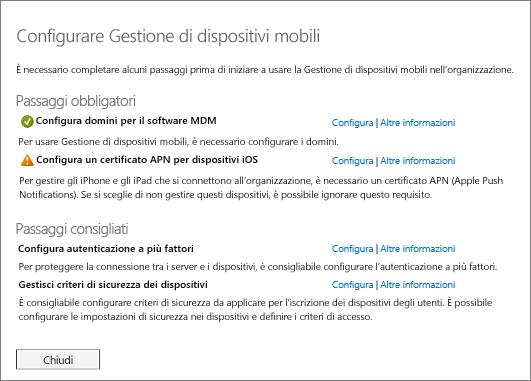 Passaggi obbligatori e consigliati per configurare Gestione di dispositivi mobili