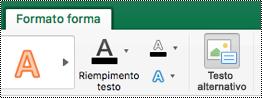 Pulsante testo alternativo per le forme sulla barra multifunzione di Excel per Mac