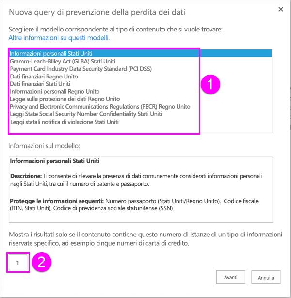 Modelli dei criteri di prevenzione della perdita dei dati con l'opzione relativa al numero minimo