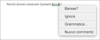 Errore grammaticale con il menu di scelta rapida che mostra le opzioni per risolverlo