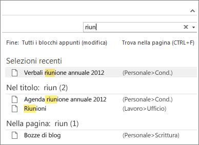 usare la funzionalità di ricerca per cercare note in qualsiasi punto di onenote.