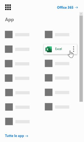 Icona di avvio delle app di Office 365 con l'app Excel evidenziata