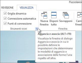 Pulsante di visualizzazione della finestra di dialogo nel gruppo Strumenti visivi