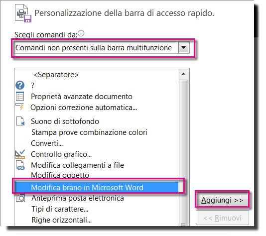 Aggiungere il pulsante Modifica brano in Microsoft Word alla barra di accesso rapido di Publisher.