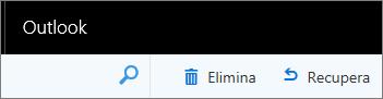 Schermata mostra le opzioni di Elimina, quindi recupera in Outlook nella barra degli strumenti web.