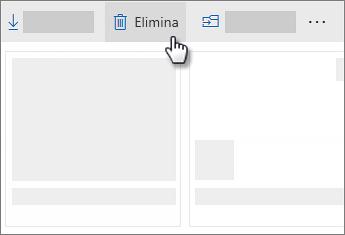Screenshot dell'eliminazione di un file in OneDrive