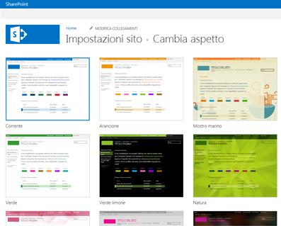 Esempio di aspetti disponibili per personalizzare il sito community