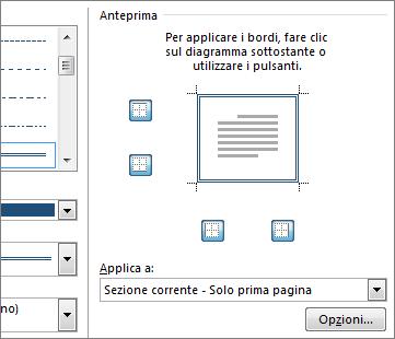 finestra di anteprima per la visualizzazione dei bordi pagina