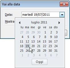 finestra di dialogo Vai alla data con Selezione data