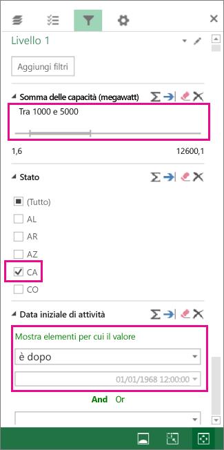Filtri per numeri, valori di testo e date
