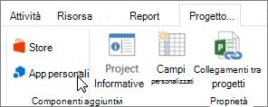 Schermata della sezione della scheda progetto sulla barra multifunzione con un cursore che puntano alle App personali. Scegliere App personali per selezionare un'app utilizzata di recente, gestire tutte le app o visitare Office Store per nuove app.