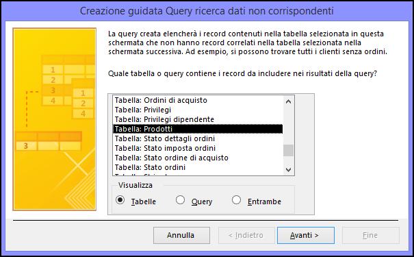 Selezionare una tabella o una query nella finestra di dialogo Creazione guidata Query ricerca dati non corrispondenti