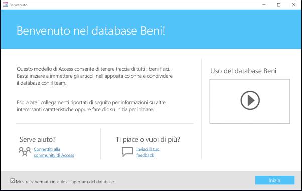 Maschera delle attività iniziali in un modello di database Beni di Access