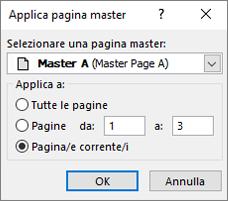 Screenshot che mostra la finestra di dialogo Applica pagina master.