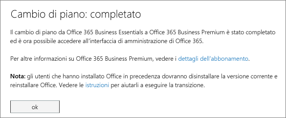 Elenco di prodotti e servizi nella pagina di accesso di Office 365.