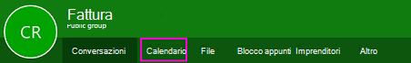 Pulsante Calendario sulla barra multifunzione dei gruppi in OWA