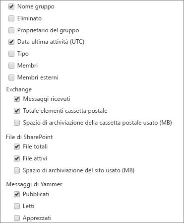 Report sui gruppi di Office 365 - scegli colonne