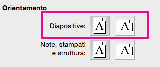 Orientamento della pagina in PowerPoint per Mac