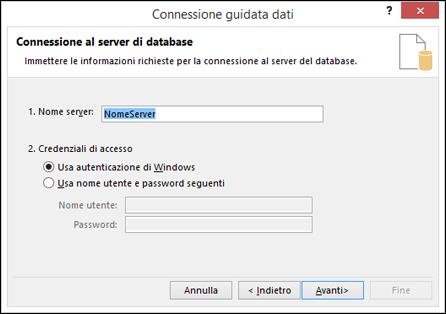 Connessione guidata dati > connettersi al server